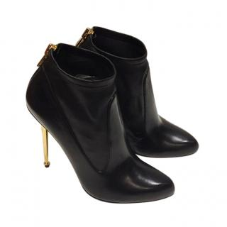 Tom Ford Black Leather Pin Heel Ankle Boots