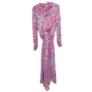 Preen By Thornton Bregazzi Silk Red & Blue Asymmetric Dress