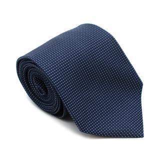 Ermenegildo Zegna Navy & White Spotted Silk Tie