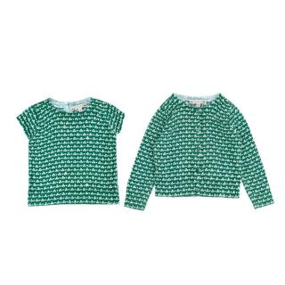 Bonpoint Green Clover Print Cotton Shirt & Cardigan Set