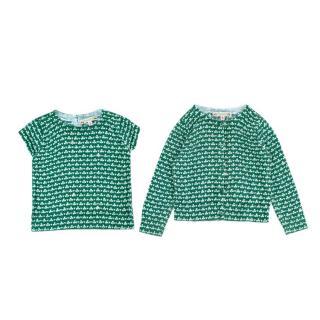 Bonpoint Green Clover Print Cotton Shirt & Cardigan Set