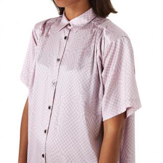 6397 Denim Two-Tone Check Oversize Shirt Dress
