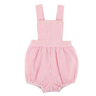 Oscar de la Renta Baby Pink & White Striped Cotton Dungarees