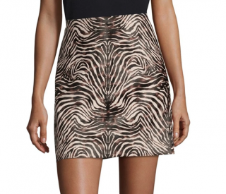 Theory Irenah High Rise Zebra Leather Skirt