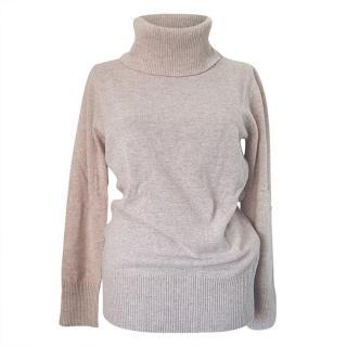 MaxMara sand beige cashmere blend roll neck jumper