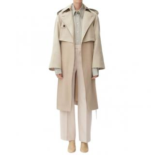 Celine Beige Cotton Blend Tailored Trench Coat