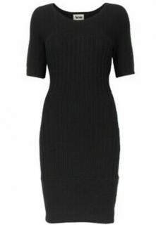 Acne Studios Black Ribbed Knit Merino Wool Dress