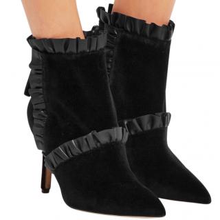 Christopher Kane Velvet Frilled Ankle Boots