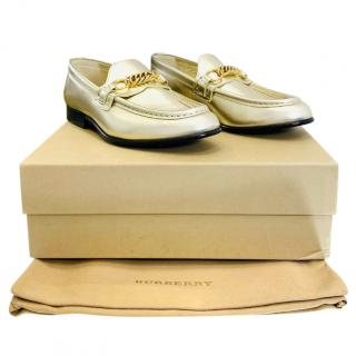 Burberry Gold Leather Chain Loafers