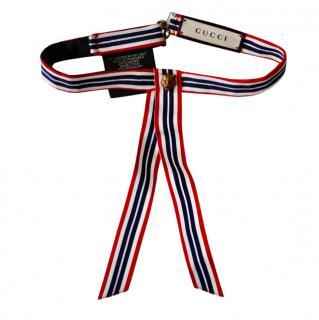 Gucci Striped Grosgrain Tiger Head Neck Tie