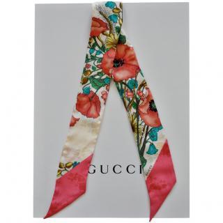 Gucci Floral Print Silk Twilly