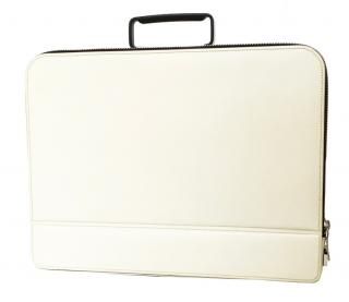 Valextra White Premier Attache Pebble-grain Leather Briefcase