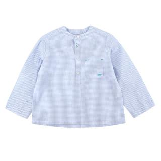 Marie Chantal Blue/White Gingham Cotton Long-Sleeve Shirt