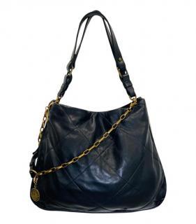 Lanvin Black Quilted Leather Amelia Medallion Chain Shoulder Bag