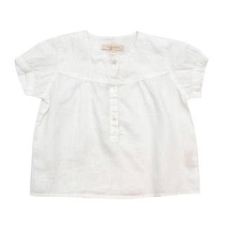 Ovale Baby Girls White Linen Short-Sleeve Shirt
