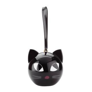 Lulu Guinness Black Cat Perspex Orb Clutch Bag