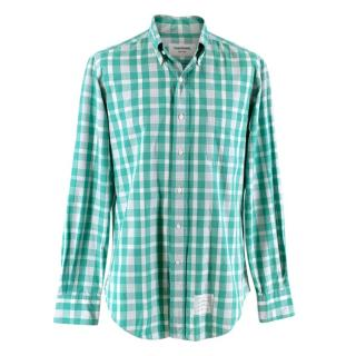 Thom Browne Green & White Checked Cotton Shirt