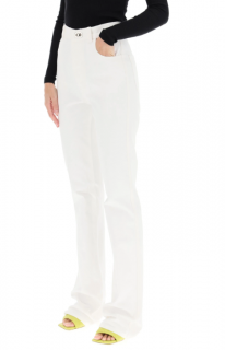 Bottega Veneta High Waist White Flared Jeans
