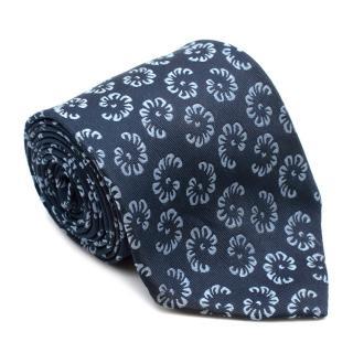 Charvet Blue Floral Silk Jacquard Tie