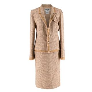 Chanel Beige Embellished Tweed Skirt Suit with Camellia Brooch
