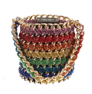 Tambonita Gold Chain Rainbow Shimmer Bucket Bag