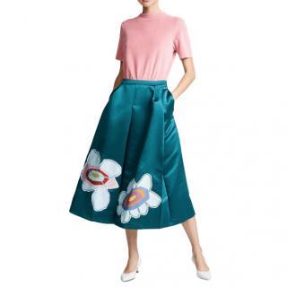 Mira Mikati Satin Flower Midi Skirt