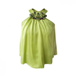 Liberty Green Silk Embellished Halterneck Top