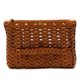 Il Micio Hidetaka Fukaya Brown Leather Woven Bag