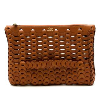 Il Micio Hidetaka Fukaya Brown Leather Woven Bag