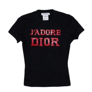 Dior Black & Red Vintage J'Adore T-Shirt