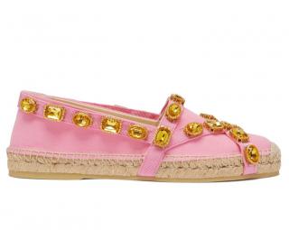 Gucci Pink Crystal Embellished Pink Canvas Espadrilles
