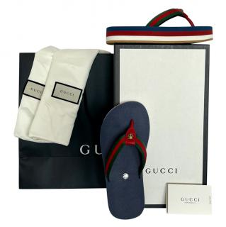 Gucci rubber Bedlam blue flip flop thong sandals