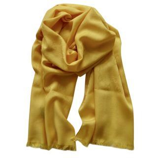 Gucci yellow GG logo silk/wool blend scarf