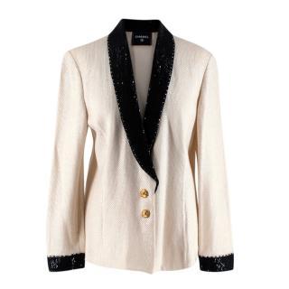 Chanel Iconic Vintage Ivory & Black Embellished Knit Jacket