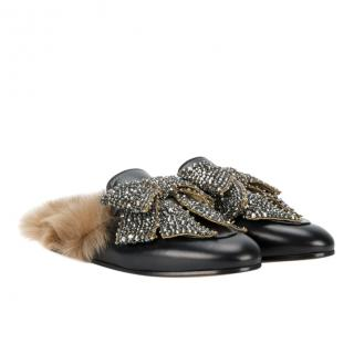 Gucci crystal bow black leather and shearling Princeton mules/slippers