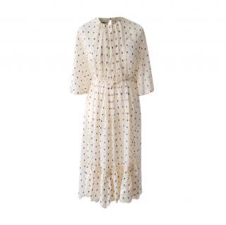Mulberry silk tie waist devore dot tea dress