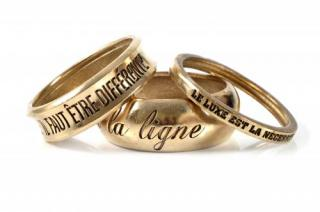 Chanel Gold Tone Inscribed Set of 3 Bangles