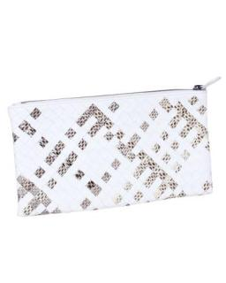 Bottega Veneta White and Python Printed Intrecciato Pouch