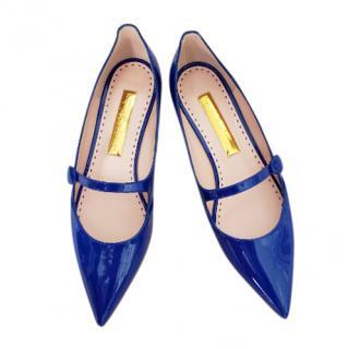 Rupert Sanderson Blue Patent Mary Jane Flats