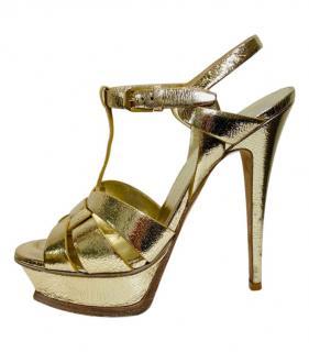 Saint Laurent Gold Tribute Sandals