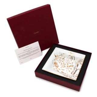 Cartier Panther Motif Porcelain Medium Trinket Tray