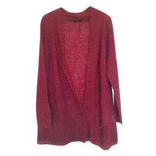 Max Mara Wine Red Mohair Bled Cardigan