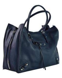 Balenciaga navy blue leather shoulder/crossbody tote bag