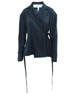 Loewe Raw Hem Navy Blue Self Tie Wool Jacket