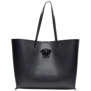 Versace Black Medusa Saffiano Leather Large Tote