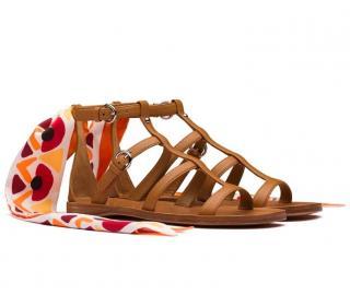 Prada Tan Ankle Scarf Flat Sandals