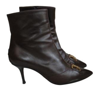 Louis Vuitton BrownLeather Logo Vamp ankle Boots