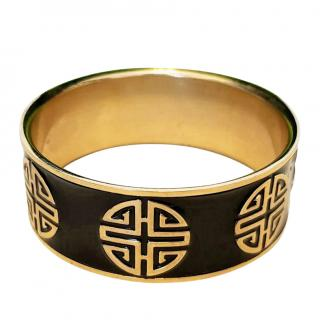 Shanghai Tang Black & Gold Enamel Printed Bangle