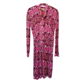 Issa Pink Printed Silk Wrap Effect Dress