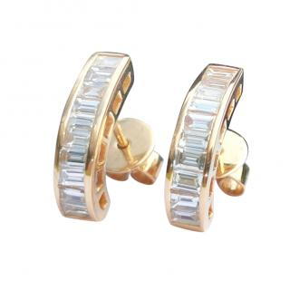 Bespoke Baguette Diamond Huggie Earrings